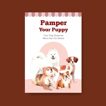 Poster template with dogs
