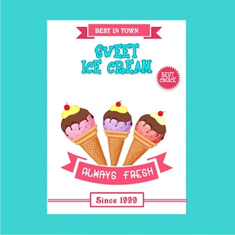 Poster template with tasty ice cream cones