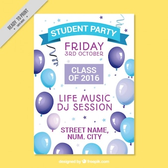 Poster with balloons for college party