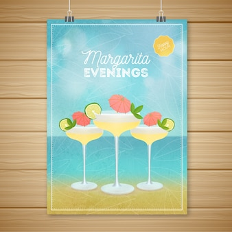 Poster with delicious cocktails and beach