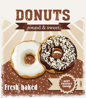 Poster with donuts painted in vintage style