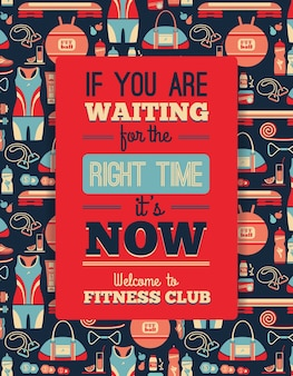 Poster with fitness Icons. Vector illustration