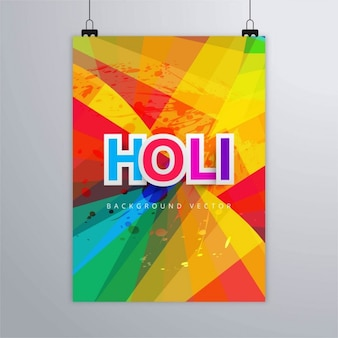 Poster with full color shapes, holi festival