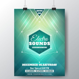 Poster with green glitter for a music festival