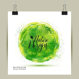 Poster with green watercolor