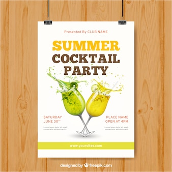 Poster with summer drinks for party