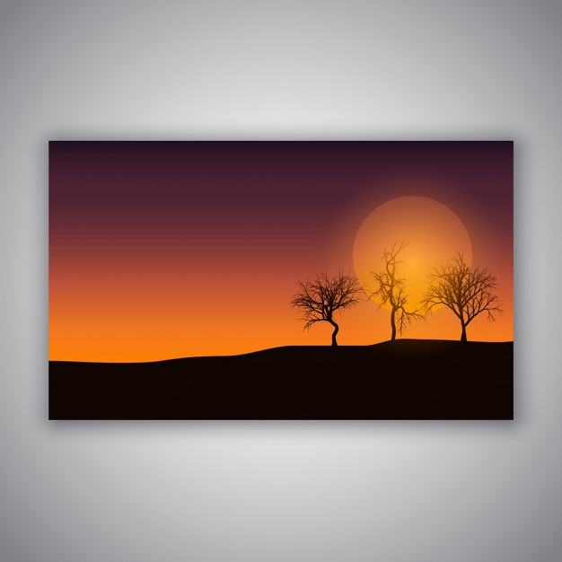 Poster with sunset