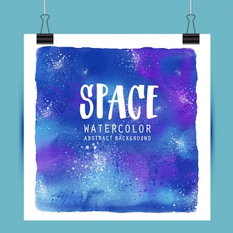 Poster with watercolors about space