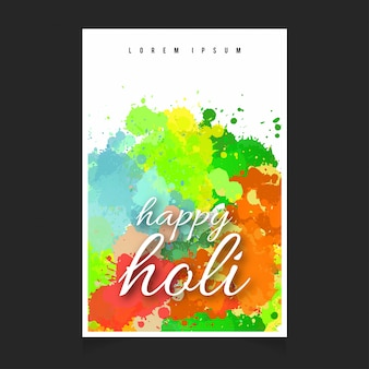 Poster with watercolors for holi