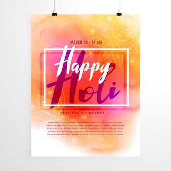 Poster with watercolors, holi festival