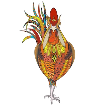ゼナルト模様の雄鶏を持つポスター