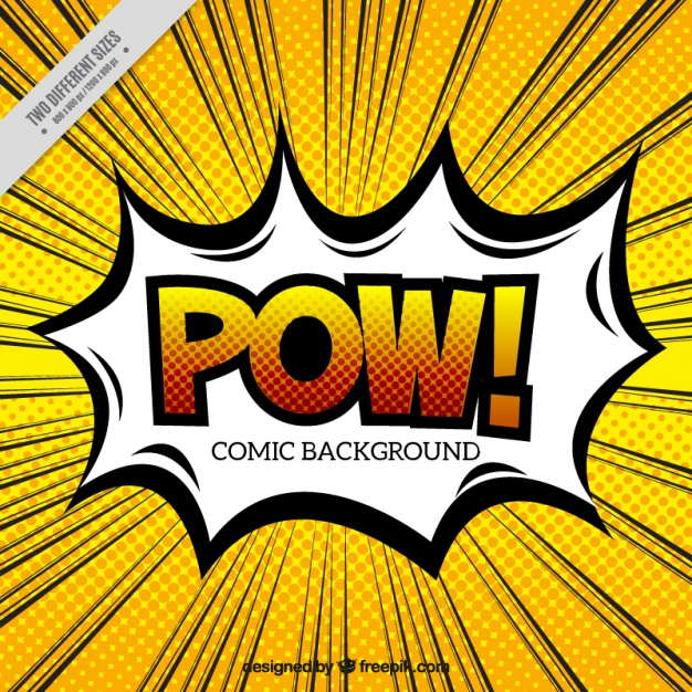 Pow speech bubble with background in pop art style