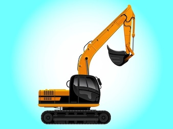 Power shovel building architecture vector