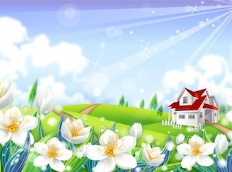 Prairie house with fowers and sunrays background