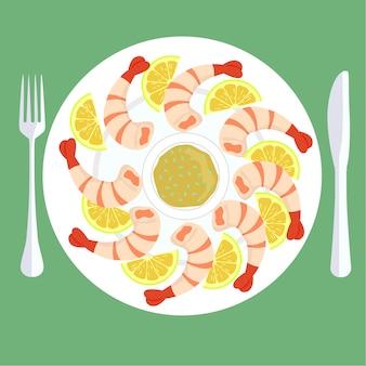 Prawns plate background design