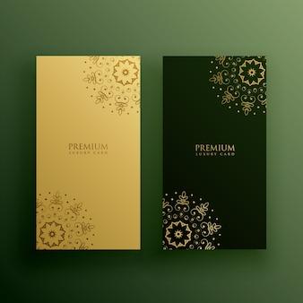 Premium card design in mandala decoration