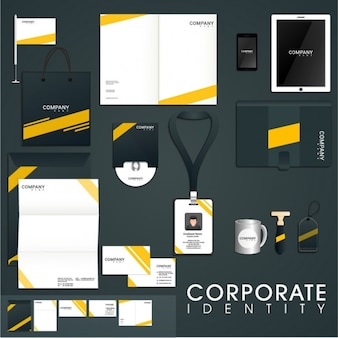 Presentation of corporate identity with yellow details