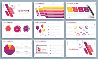 Presentation Templates with colorful infographic elements.