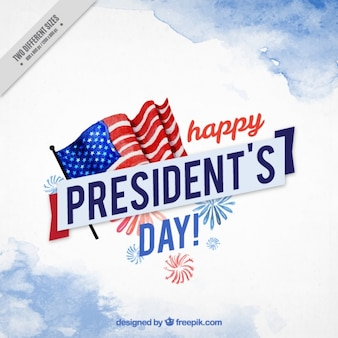 President's day background painted with watercolor