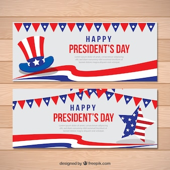 President's day banners with decorative star and hat