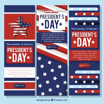 President's day banners with white decorative stars