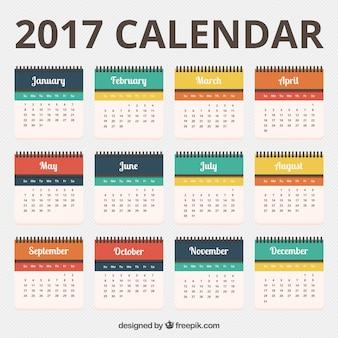 Pretty 2017 calendar template