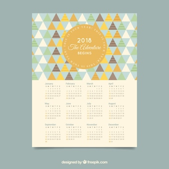 Pretty 2018 calendar with triangles