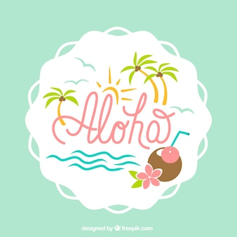 Pretty aloha background with palm trees and coconut
