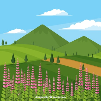 Pretty background of flowers and mountains