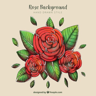 Pretty background of hand-drawn roses