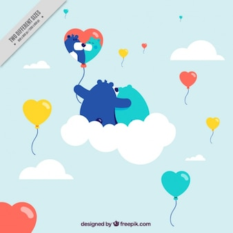 Pretty background of loving bears on a cloud