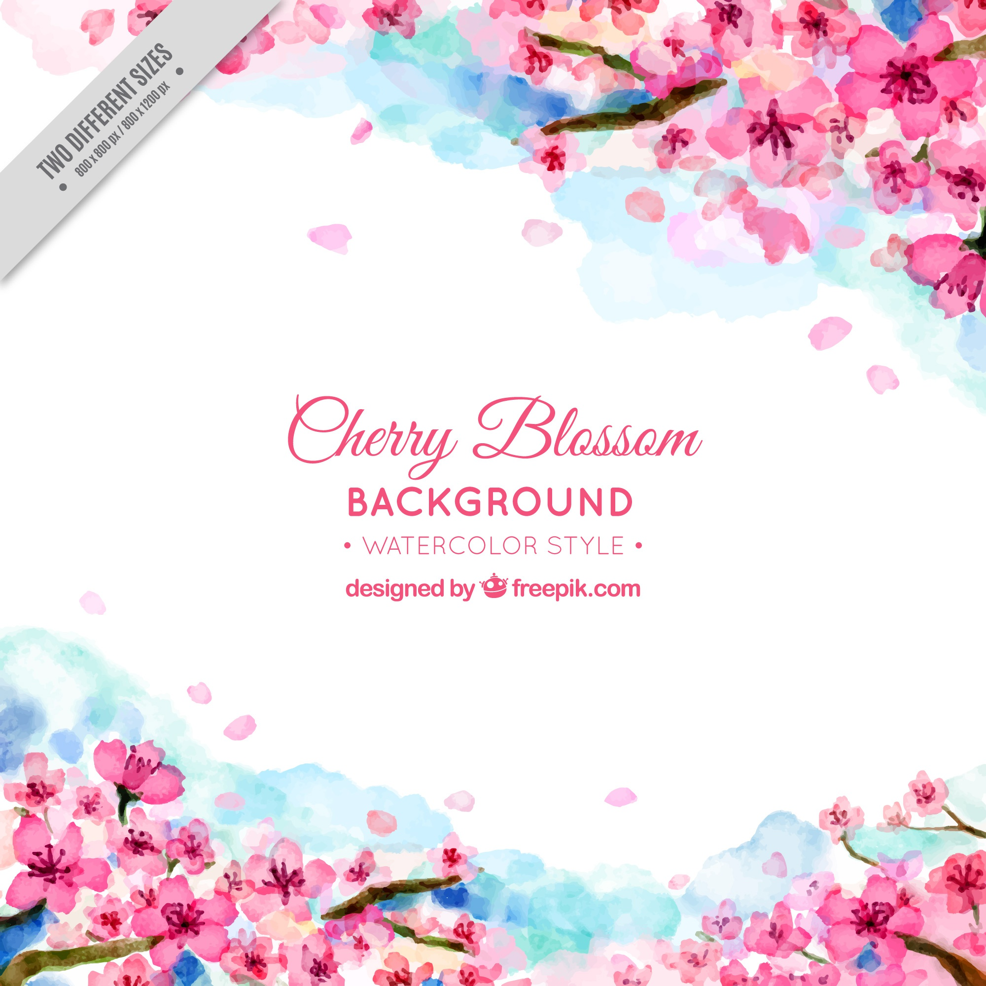 Pretty background of watercolor cherry blossoms