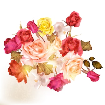 Pretty background of watercolor roses