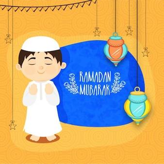 Pretty background with child praying