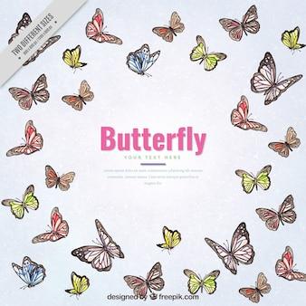 色の蝶が飛んでいるとかなり背景