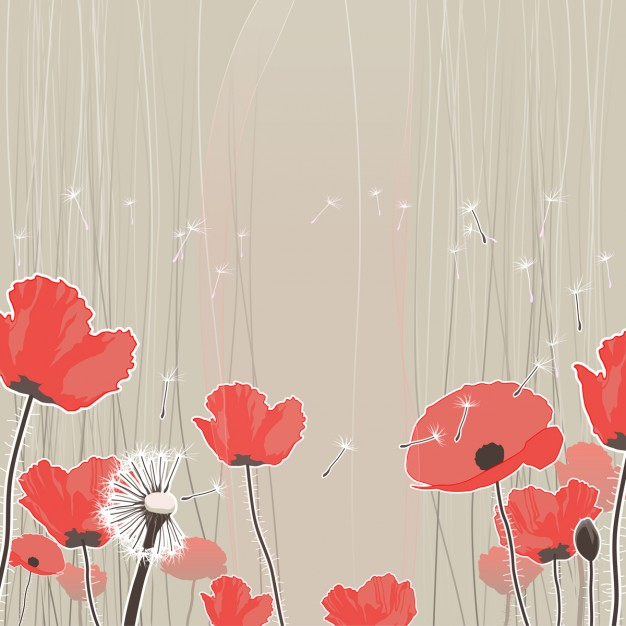 Pretty background with dandelions and red flowers