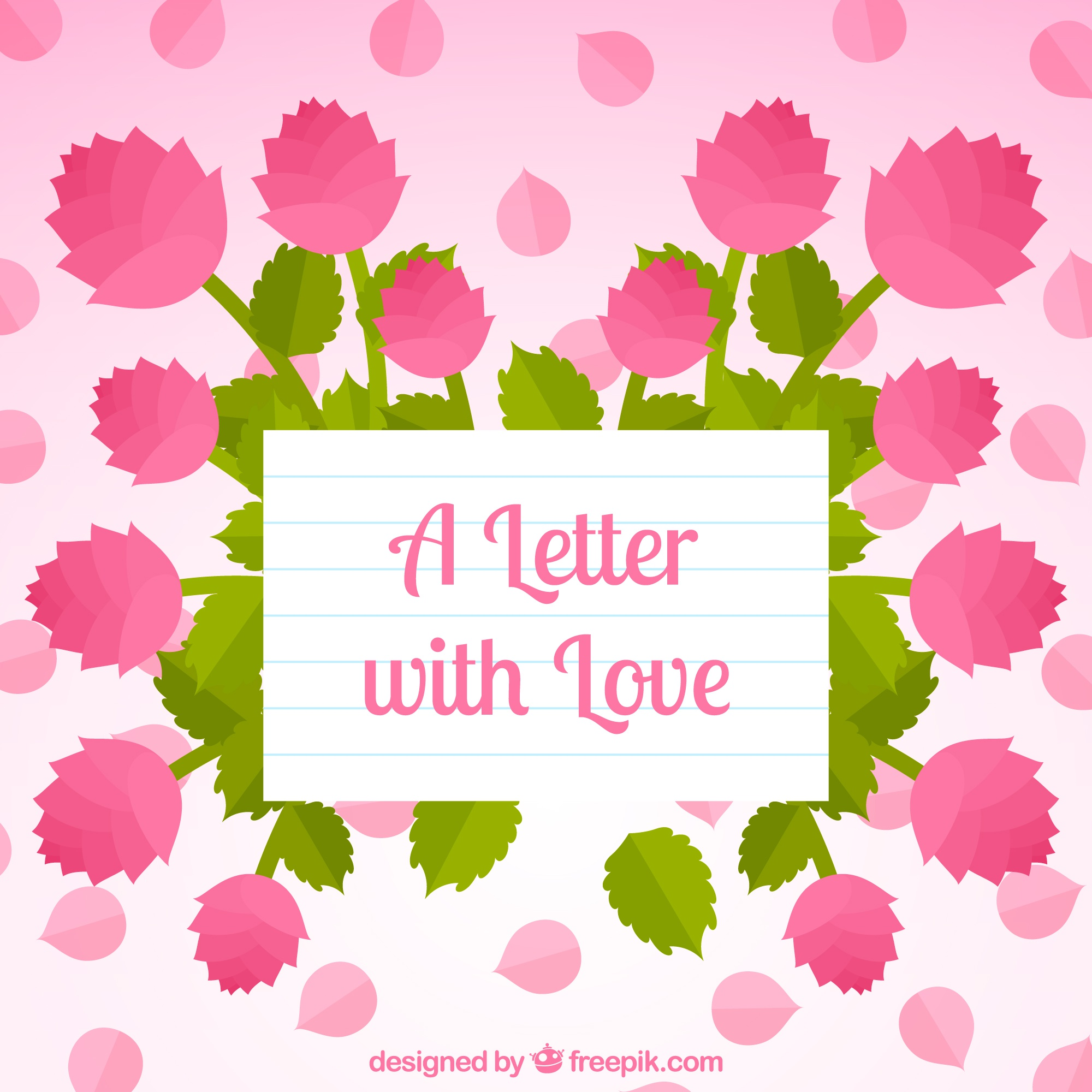 Pretty background with flat roses and paper with message