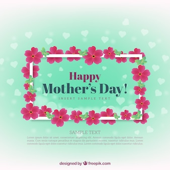 Pretty background with flowers and hearts for mother's day
