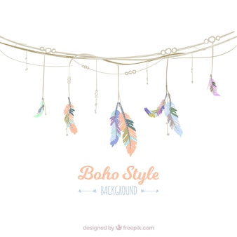 Pretty background with garland in boho style
