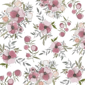 Pretty background with painted flowers