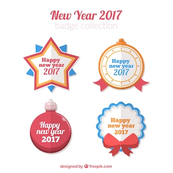 Pretty badges set of 2017 new year in flat style