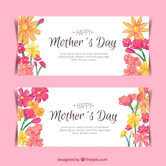 Pretty banners with floral decoration for mother's day