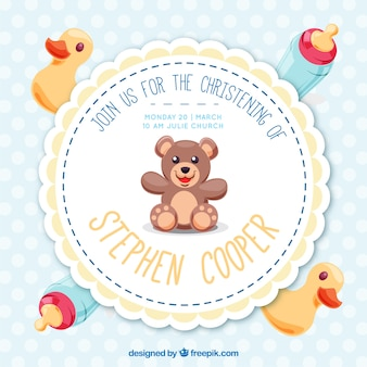 Pretty baptism invitation with toys