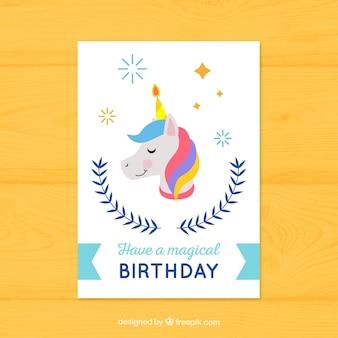 Pretty birthday card with unicorn