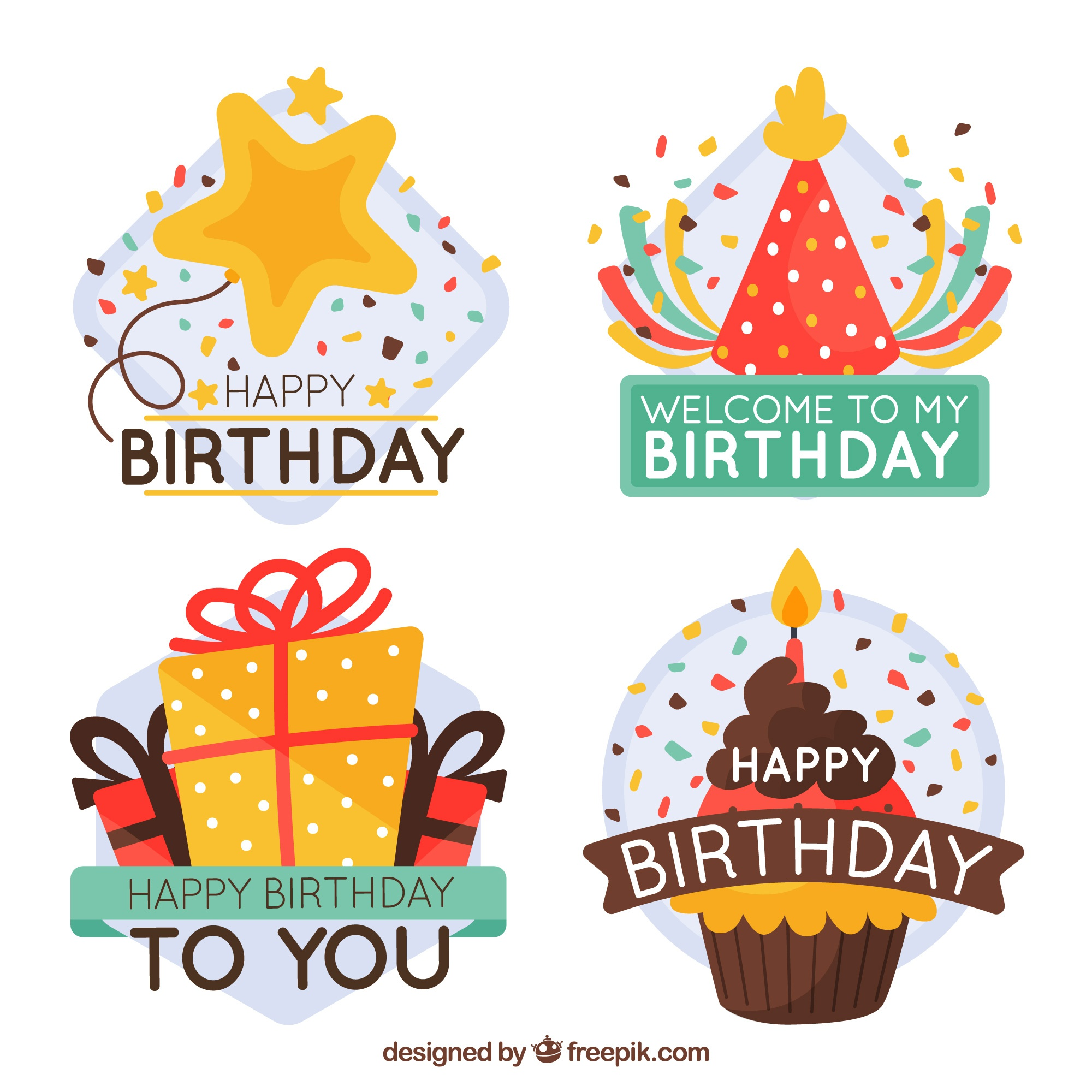 Pretty birthday stickers with message
