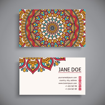 Pretty business card with a mandala