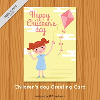 Pretty card of girl with kite