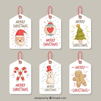 Pretty christmas tags with drawings