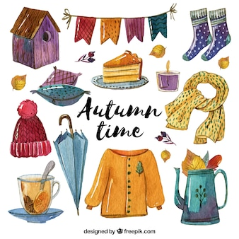 Pretty clothes with autumnal watercolor accessories