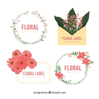 Pretty collection of decorative stickers with flowers